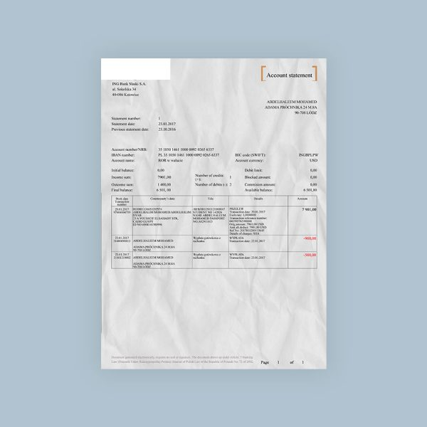 Buy A Fake Ing Bank Statement From Fakedocuments Com